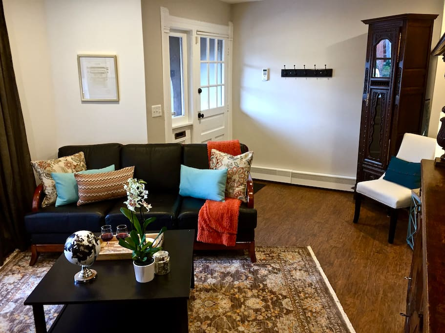 The living room provides ample space for conversation, watching a fire with your favorite beverage, or snuggling into the couch with a good book.