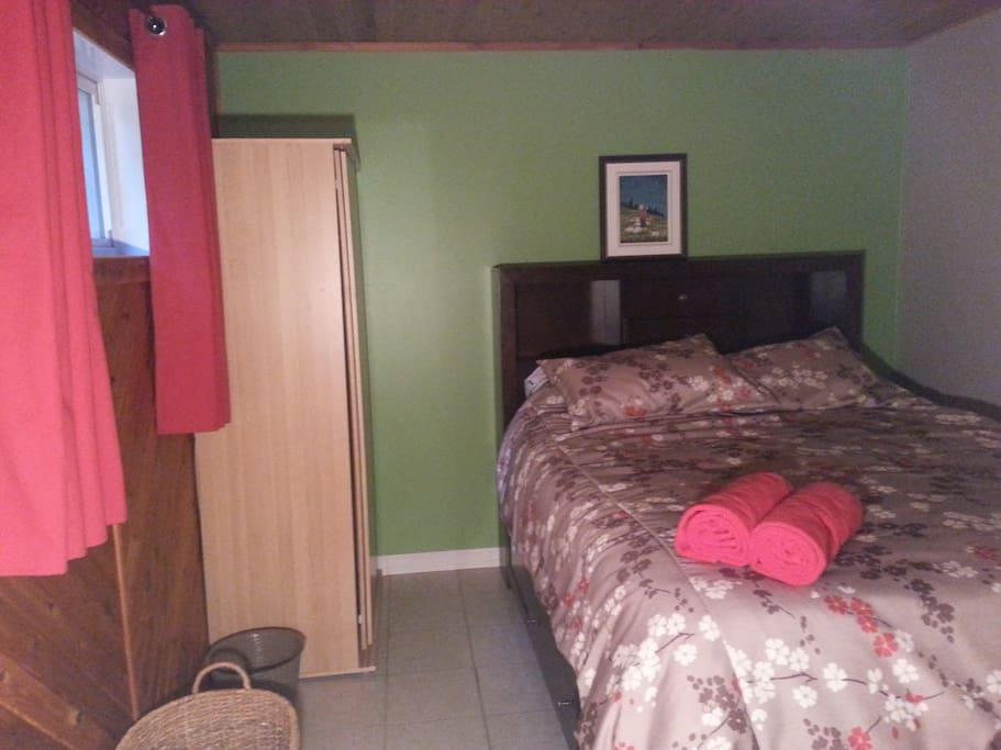 chambre verte avec lit queen au sous-sol