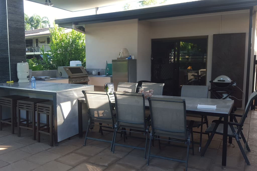 Outdoor entertaining area with BBQ and kitchen