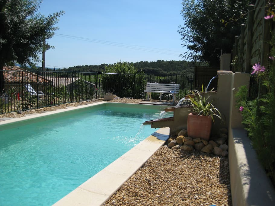 9x3m salt-water pool, fenced in and  very easy on the skin