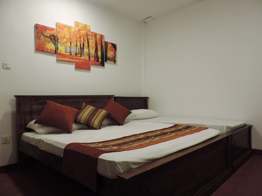 Room 2 - Triple Room : 135 Sqft High quality Teak beds 1 Queen size bed + 1 Single bed