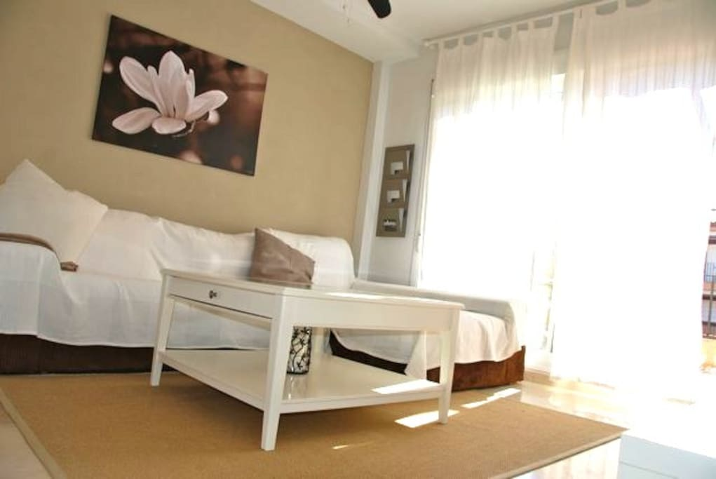 Charming Living room with bed-sofa and 2m chaiselonge