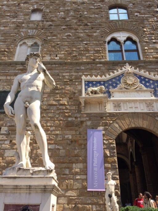 David - Michelangelo ( copia,Piazza della Signoria )