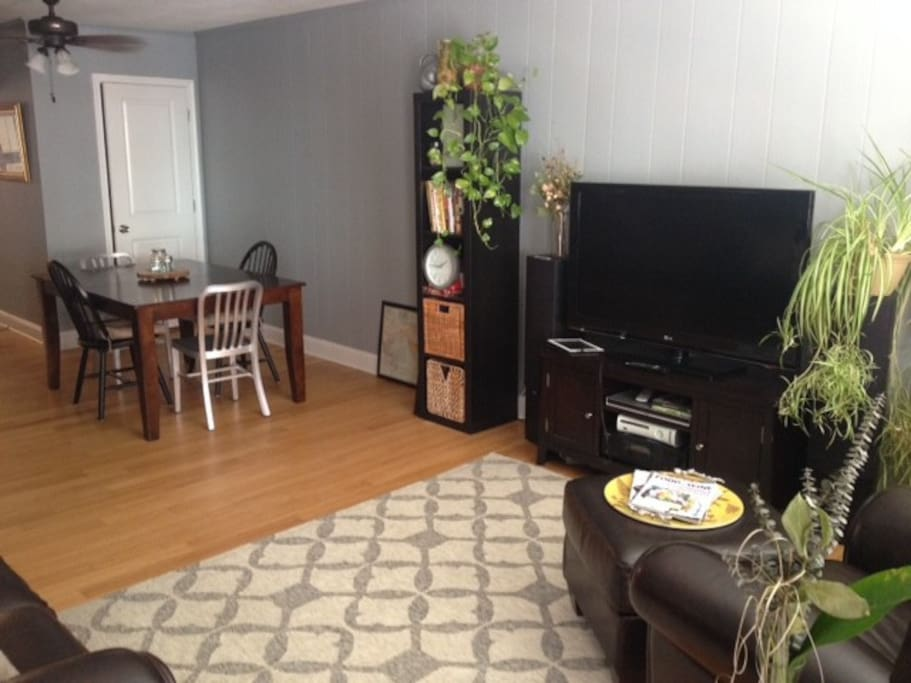 Dining and living room space, very open.