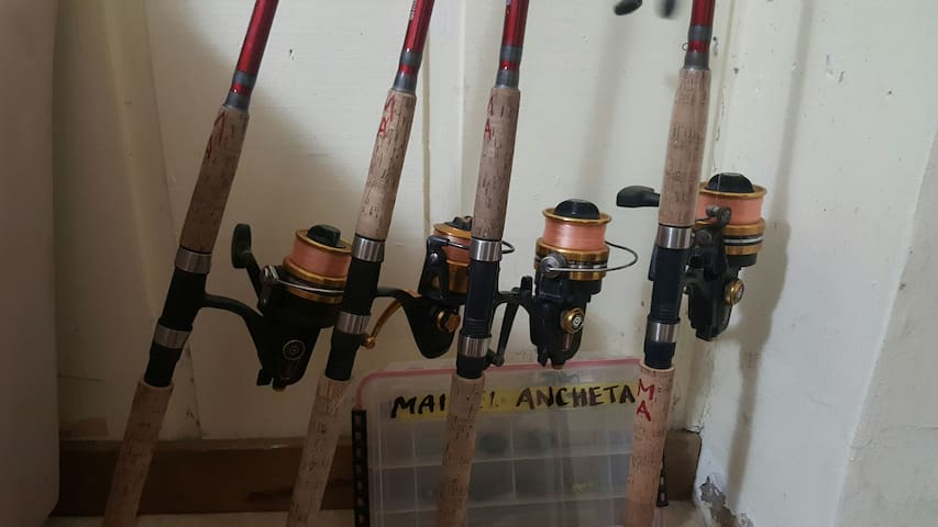 Rods and reels and tackle are always at the home for guest to use.