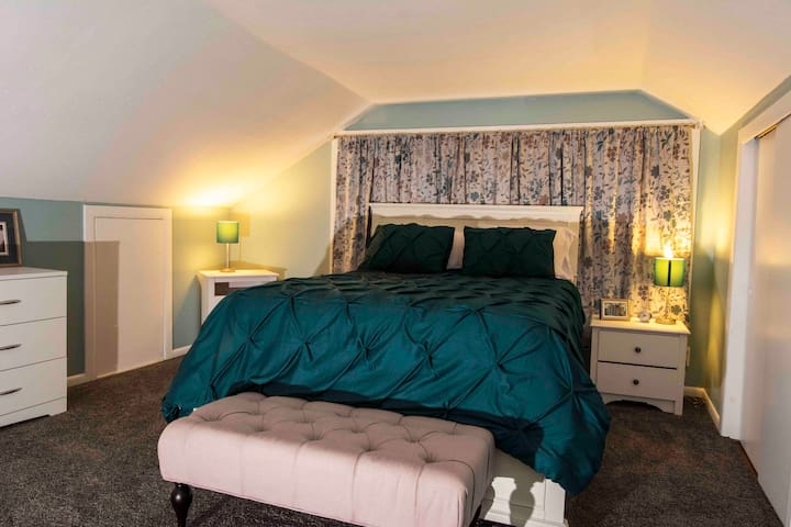 Queen size bed, ample room for clothes and sundries.