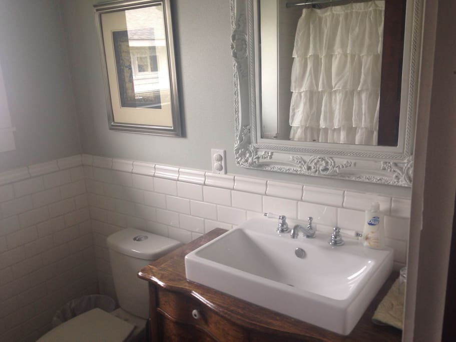 Private bathroom with bathtub and shower. Great water pressure.