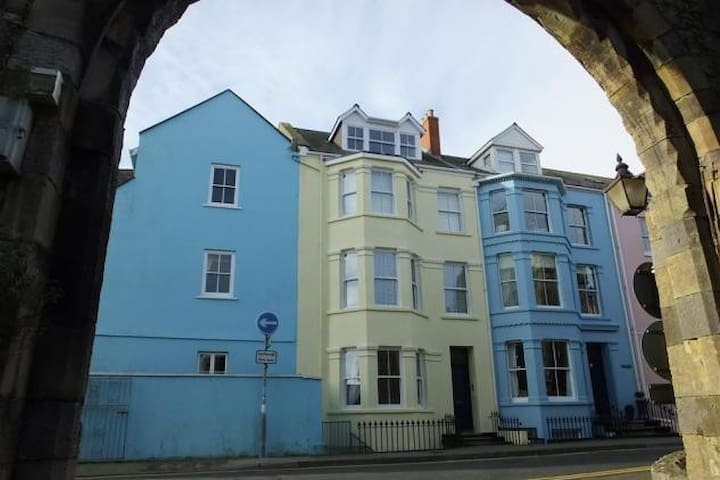 Panoramic views over Tenby town walls and beach - Tenby - Apartment