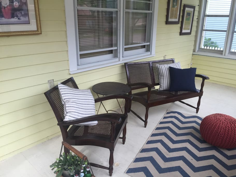 Screened-in porch with overhead fan provides the perfect place to relax!