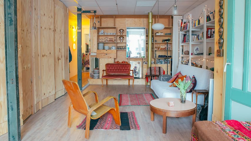 Artistically decorated apartment with canal view