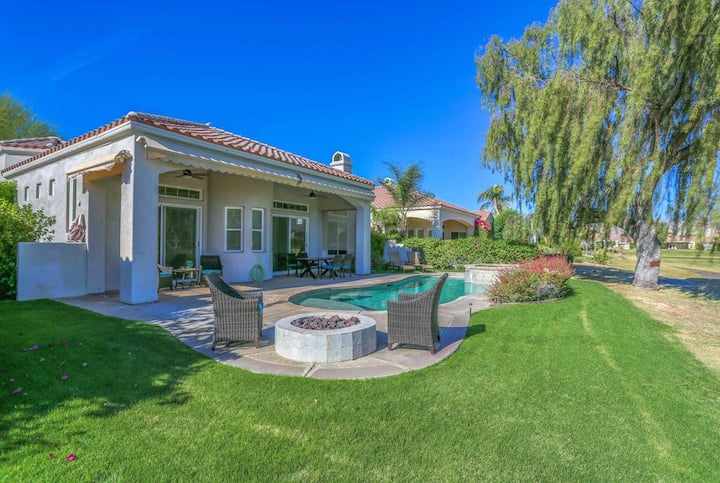 Peaceful coursefront home w/ a private pool, spa, & firepit - dogs welcome!