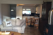 View from sitting area through to the kitchen. Open plan.