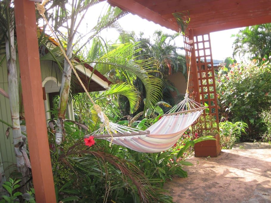 Garden pergola with hammocks