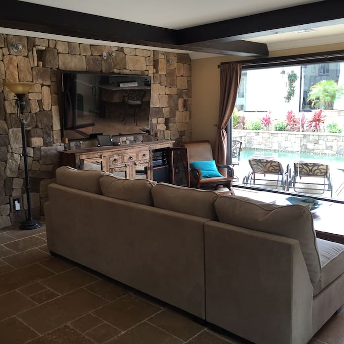 Family room with view of pool