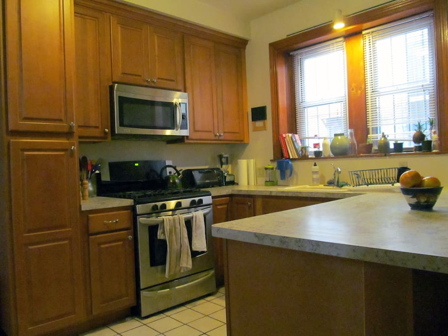 Kitchen: cabinet space, microwave, oven, plenty of counter space.