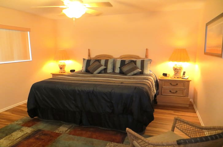 Our master bedroom has a US king-size bed (UK super-king) and a en-suite bathroom