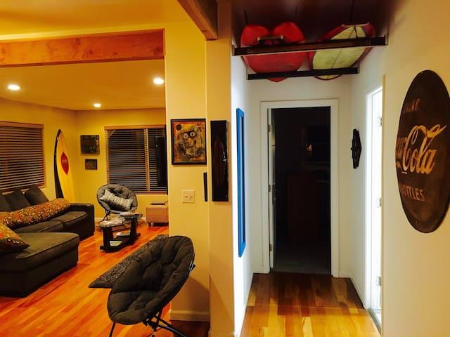 Living Room and Hallway to Bathroom