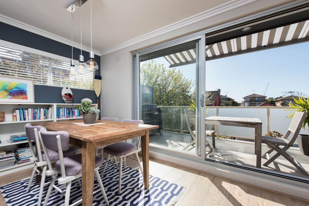 North Face balcony with auto retractable awning