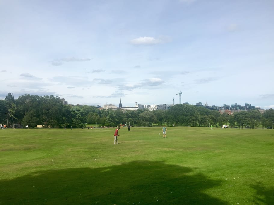 Looking across Bruntsfield Links and The Meadows towards Edinburgh Castle, the Old Town and City Centre
