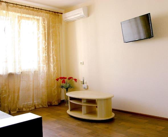 Основное спальное место - двухспальный диван, кондиционер, телевизор.