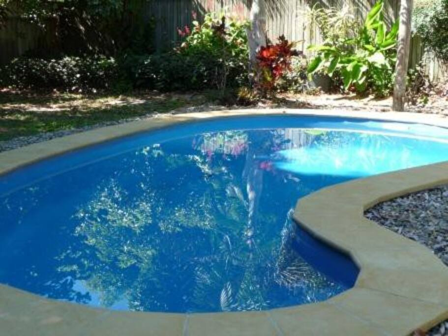 Relax in the private saltwater swimming pool