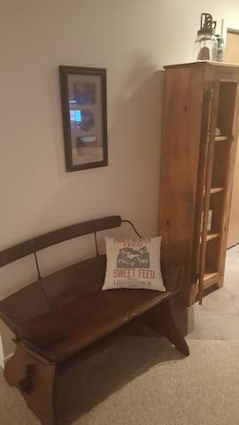 Original, antique buggy seat, bench . . Lots of little home decor items.