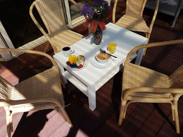 Cozy breakfast on the patio
