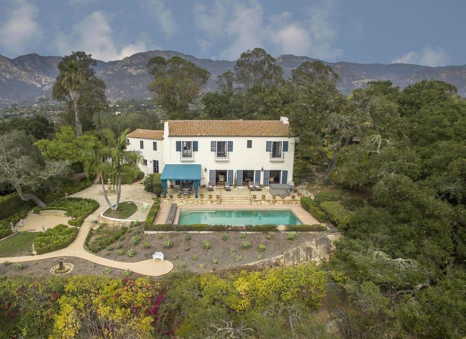 Perched atop the Santa Barbara Riviera with city, ocean and mountain views
