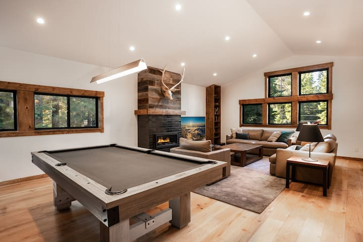 Family / game room with pool table and 75'' TV