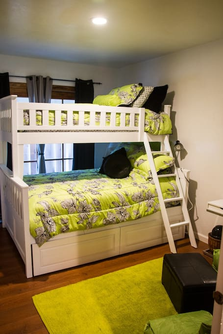 Bunk bed  room 12.5 X 9.5  Single over double.  TV, Wifi, patio door.