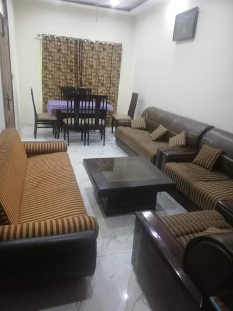 Double Bed furnished Ground Floor Portion