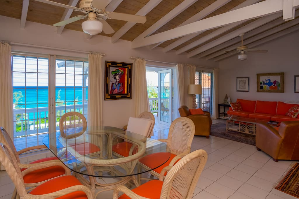 Dining & living room with ocean view