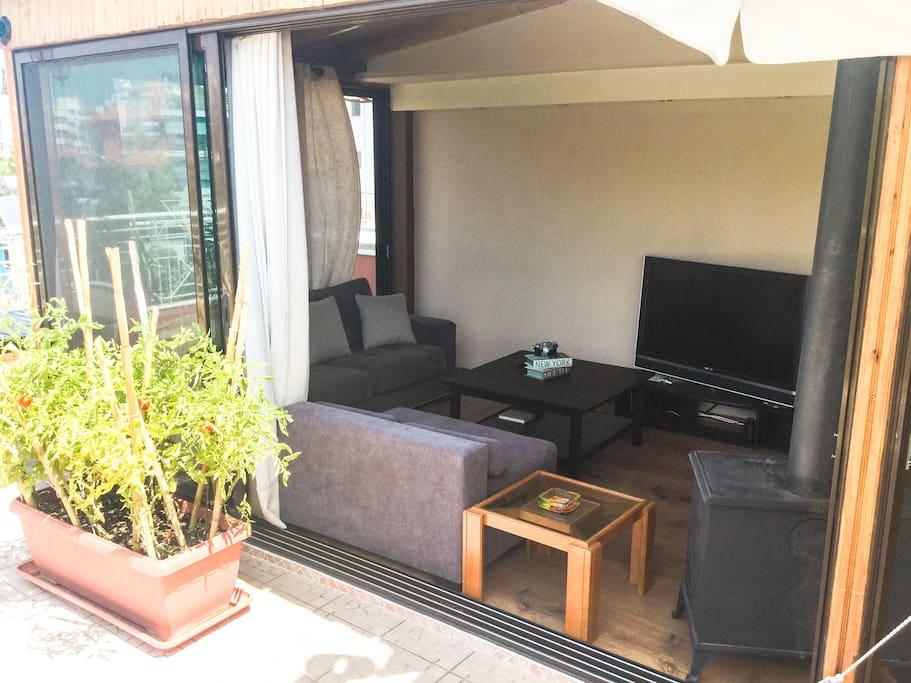 Open air living room. Slide doors open for a wonderful evening breeze.