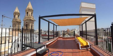 Romantic studio-attic with 2  private terraces