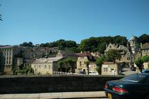 View from the town bridge over the Avon. Bradford on Avon. Not far from Bath.