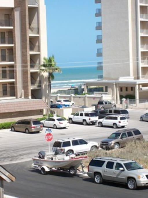 Across the street from the beach.