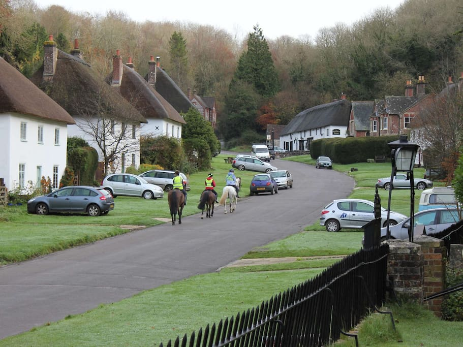 The village of Milton Abbas is distinct in its row of identical thatched cottages.