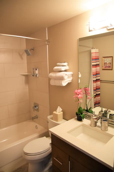Private en suite shower/tub with fresh towels, bath supplies and hair dryer
