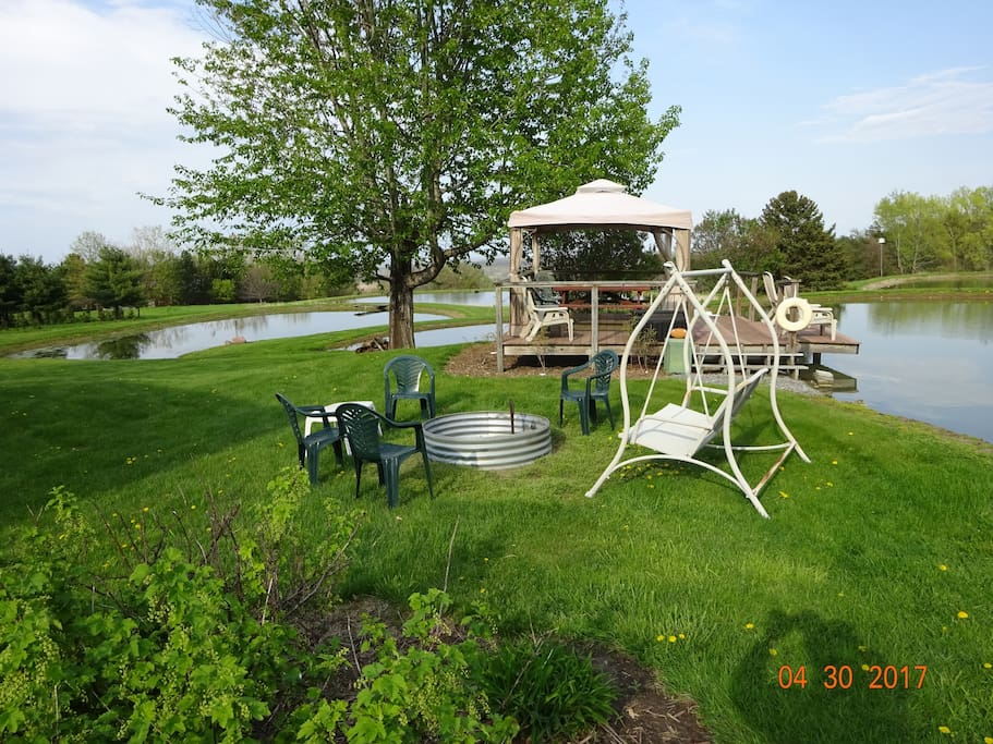 View from deck. Gazebo and fire pit available to guests.