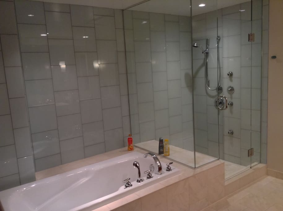 Luxurious oversized bath and shower