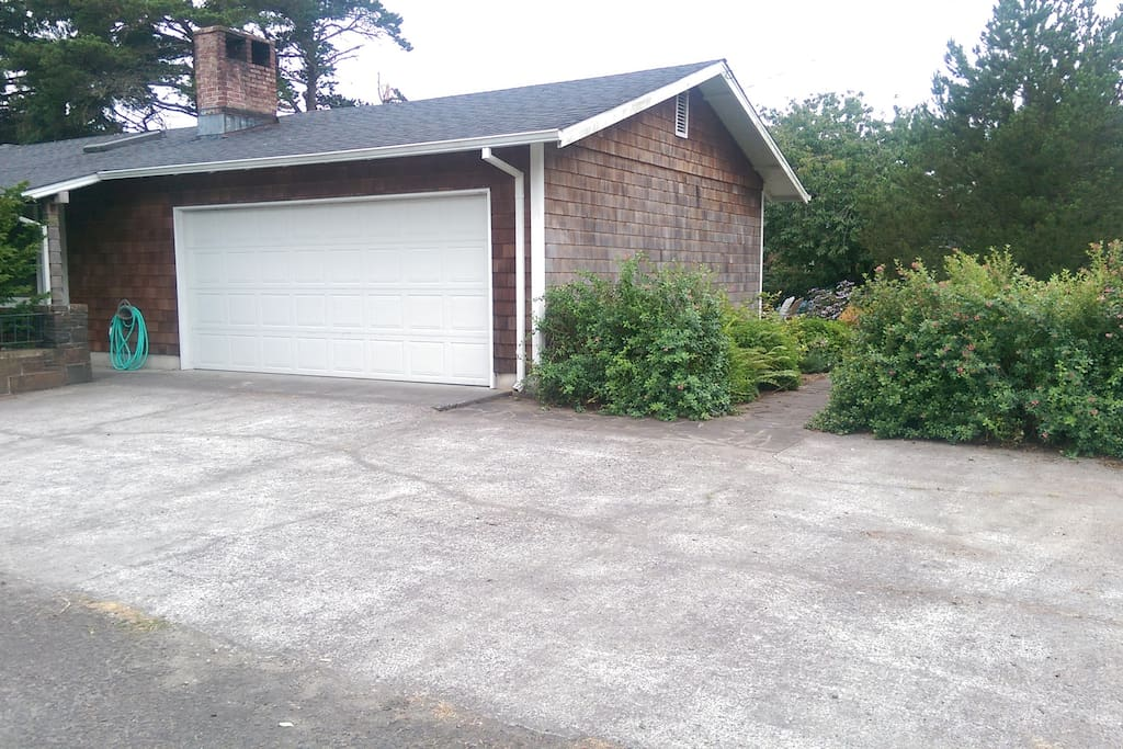 Two car garage with extra parking space