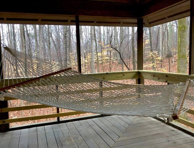 Pauley's Island hammock in south-east corner of wraparound porch.