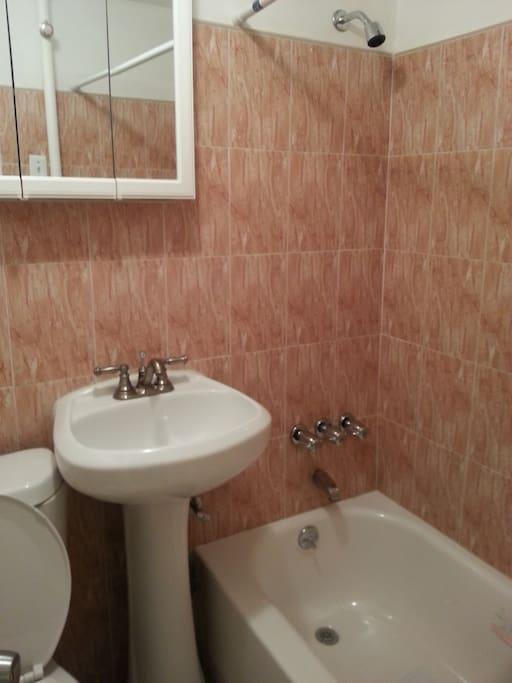 Renovated Bathroom has full sized tub