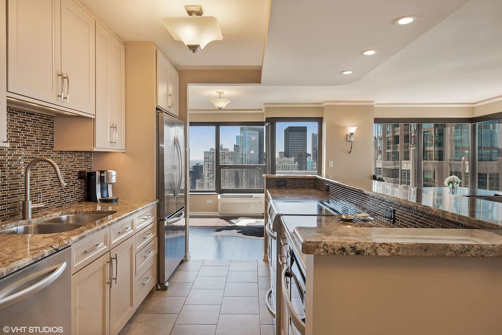 Custom cabinets, granite countertops, and high-end appliances