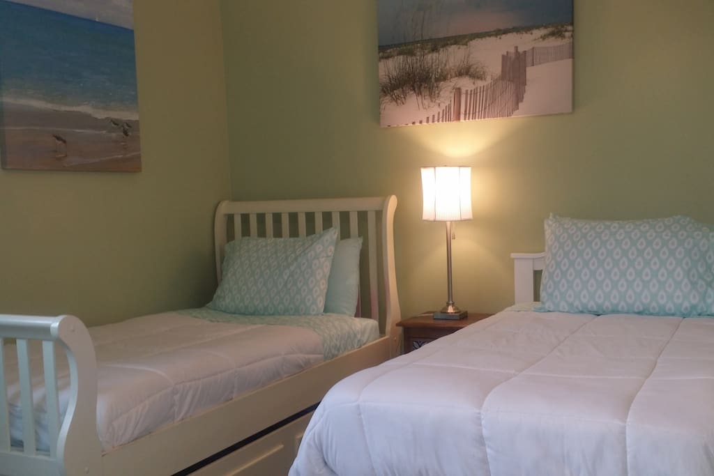 Twin Beds in a large bedroom