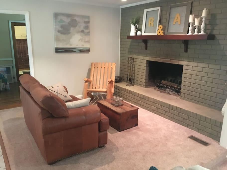 Fireplace and sitting area