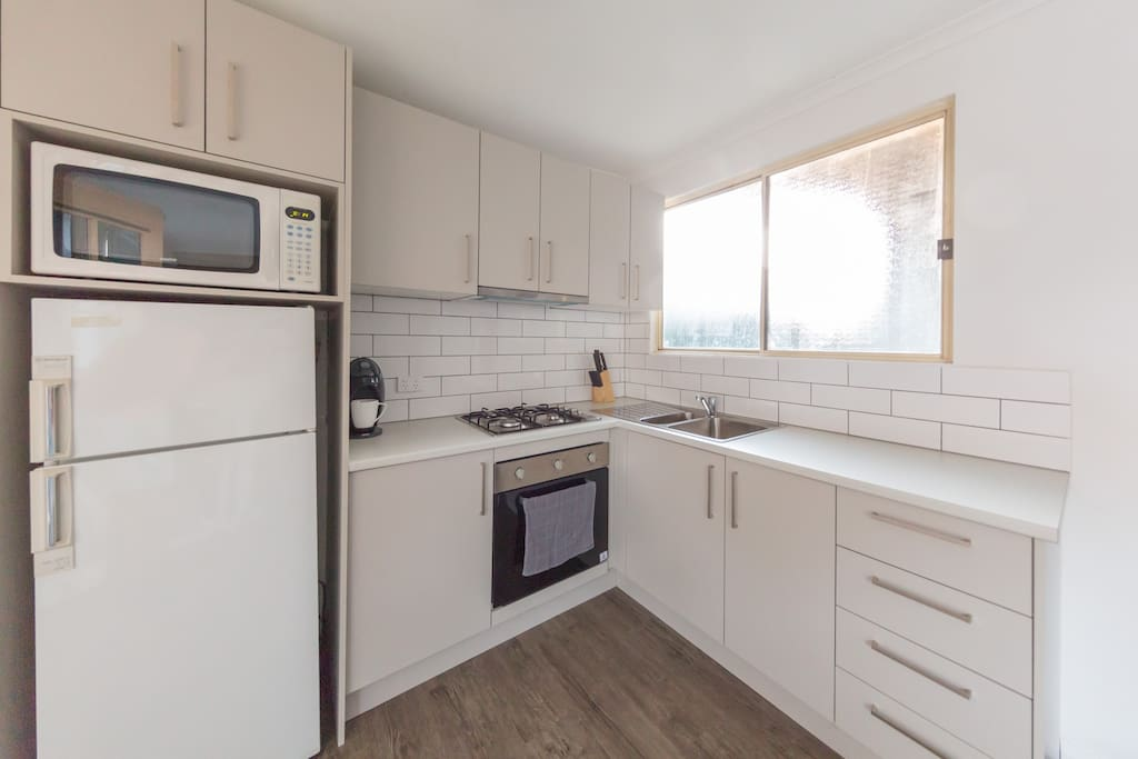 Beautiful, freshly renovated kitchen with stainless steel appliances