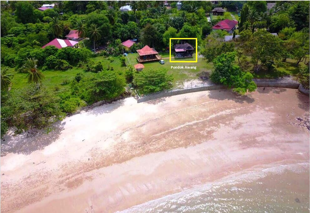 Your house, aerial view from the beach. (Credit: Paul)