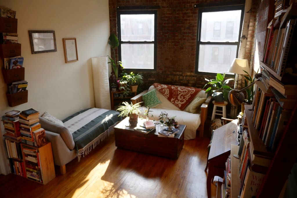 South-facing windows and top floor of a brownstone mean sunlight all day.