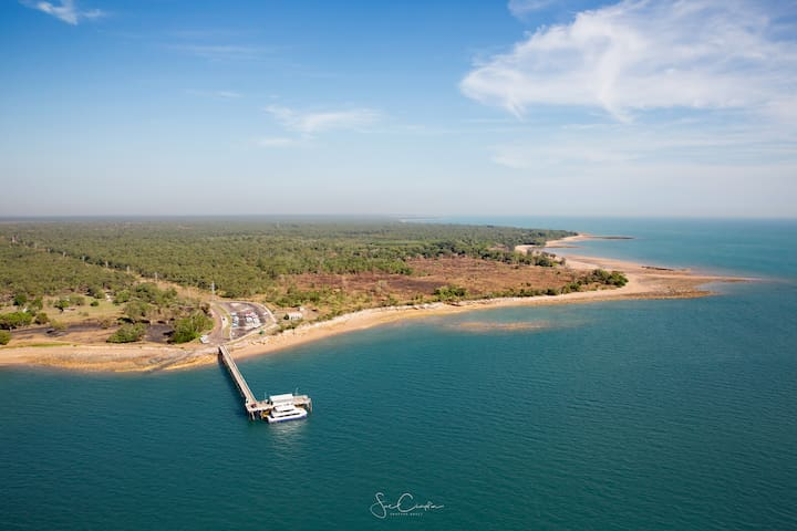 Mandorah Jetty.  Perfect for fishing and our ferry terminal
